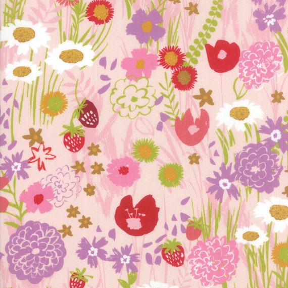 Light Pink Floral With Wildflower Mix, Digital Quilt Prints Crystal Manning by Moda, Fabric by the Yard 11830 13