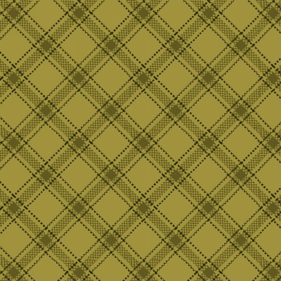 Ticking Stripe Laid As A Plaid For Gingham Like Effect Green Farmstead Harvest by Kim Diehl, Cotton Print Quilt Fabric by the Yard 6946 66