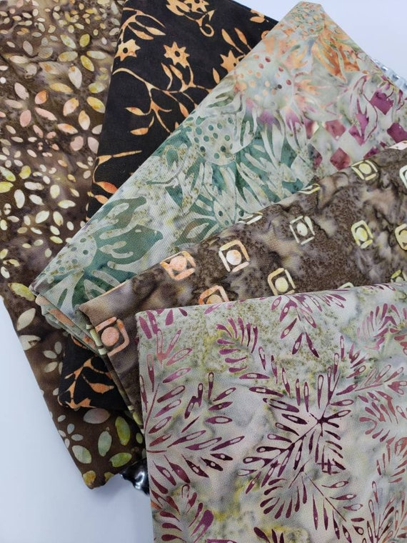 Batik Cotton Fabric Of 5 One Yard Cuts In Coffee Browns, Moss Greens, Soft Nutmeg with Hints of Mauve  1YARDBN233