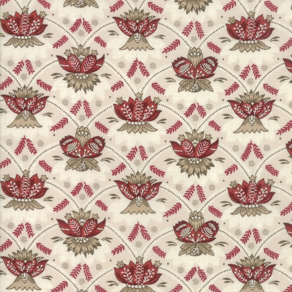 Vive La France Rouge and Tan, Tomato Red and Creme Feather Crest Prints By French General For Moda Quilt Fabric by The Yard 13832 12
