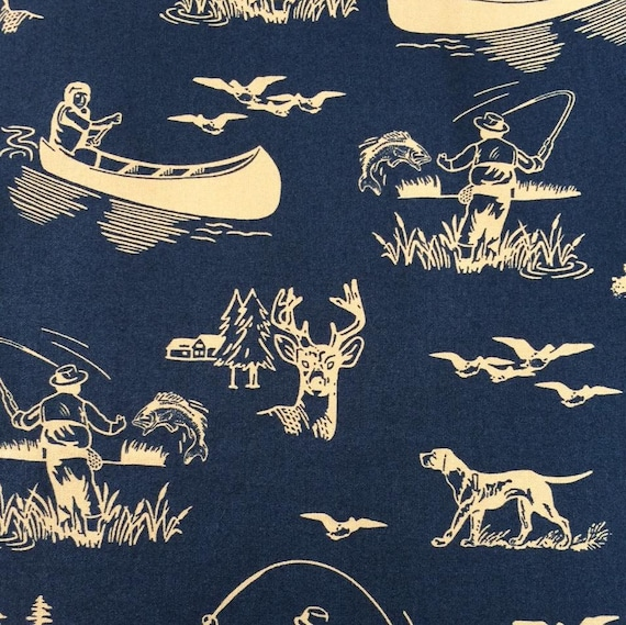 Outdoor Life Fishing, Hunting and Boating On The River In Khaki On Blue, Windham Fabrics, Whistler Studios Fabric by the Yard 35479 3