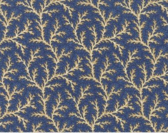 Grand Traverse Bay by Minick and Simpson Tan Fern Design On Soft Blue Background For Moda Fabric by the Yard 14828 15