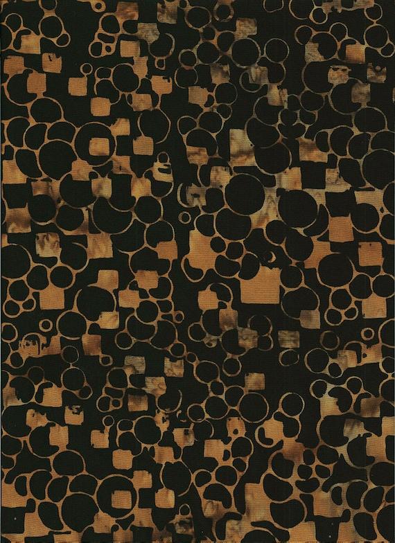 Taupe Circles and Squares On Black Cotton Batik, Batik Textiles Fabric by the Yard 2320