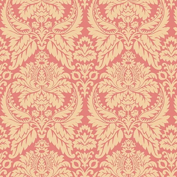 Parlor Fancies Salmon Pink Kim Diehl Blush and Blue Quilt Fabric by the Yard 1955 22