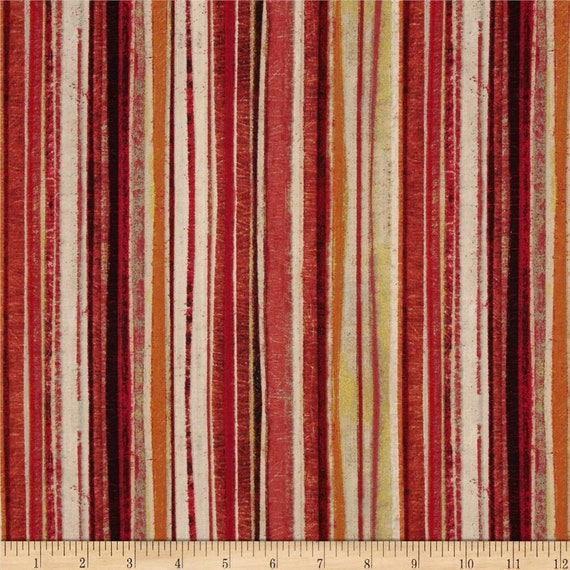 Tuscan Breeze Red Burnt Orange Stripe With Shades Of Gold, Quilt Fabric by the Yard For P&B Textiles. 894r