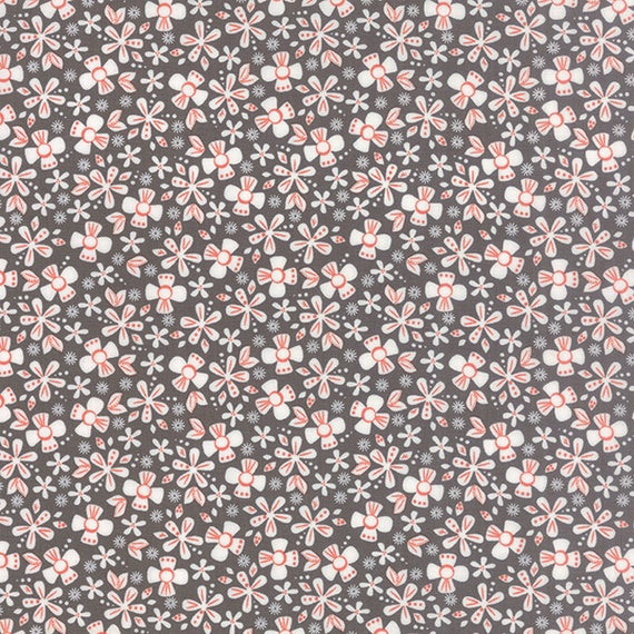 Corey Yoder Little Miss Shabby Dark Grey Prairie Ditsy Flower Quilt Fabric. Flowers Are White With Mauve Pink Details, 29002-13