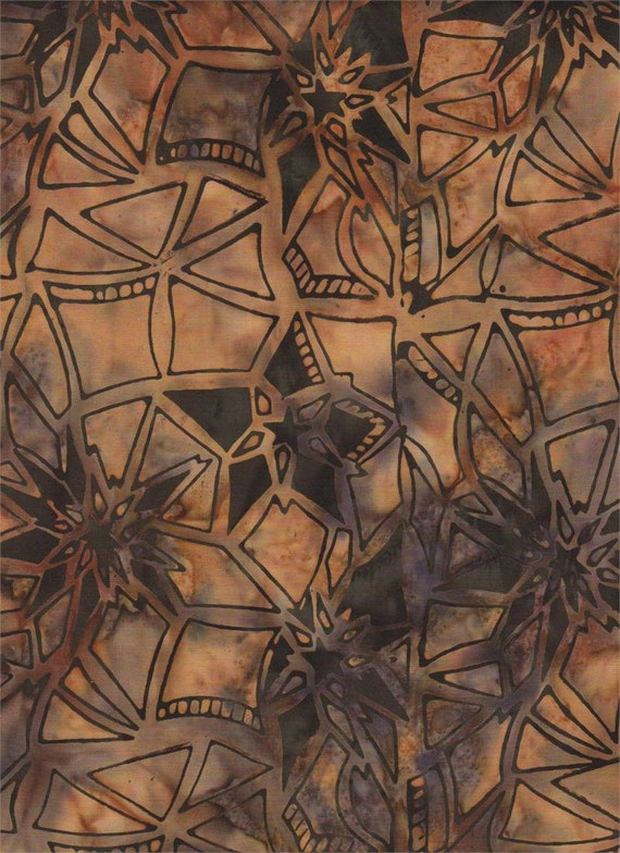 Black On Taupe Brown Star Medium Colored Cotton Batik, Batik Textiles Fabric by the Yard 3165