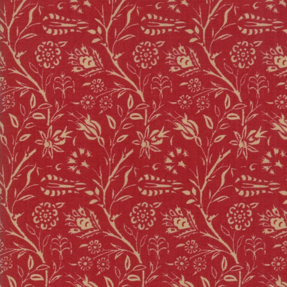 Vive La France Rouge and Tan, Tomato Red and Tan Floral Garden Prints By French General For Moda Quilt Fabric by The Yard 13831 11