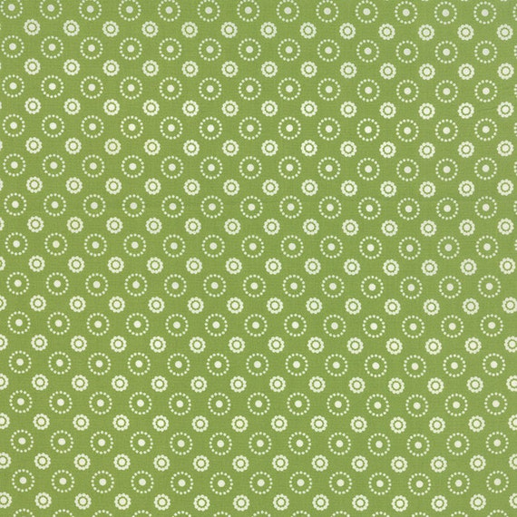 Meadow Bloom April Rosenthal Prairie Grass Quilt Fabric With Flowers Dots Arranged In Circles, In A Retro Grass Green By The Yard 24026 18