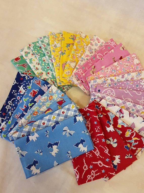 Quilt Fabric Bundle of 27 Toy Chest Fat Eighths. Reproduction Prints With Toy Elephants, Giraffes, Clowns, Lasso, Sailboats, Lions, Anchors
