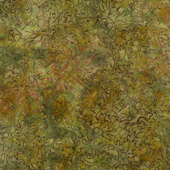 Green Grey Java Malam Batik by Jinny Beyer for RJR Fabrics, Fabric by the Yard 1768 5