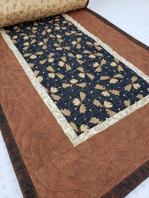 Table Runner With Fun Moose Heads On Black, Cabin Style, Mountain Home Decor 14 x 47 Inches