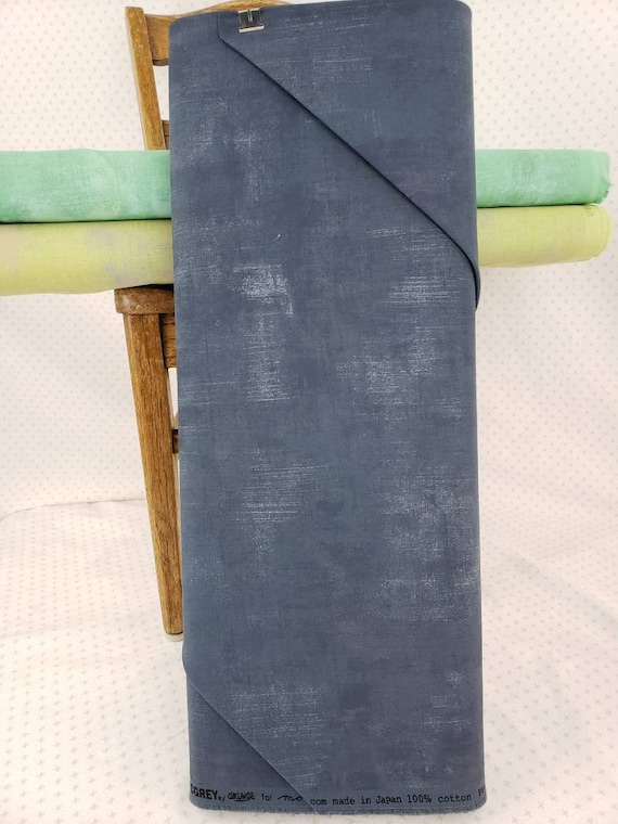 Picnic Blue Grey Grunge Basics, Modern Textured Brush Stroke Tonal Blender, Moda Quilt Fabric by the Yard, 30150 175