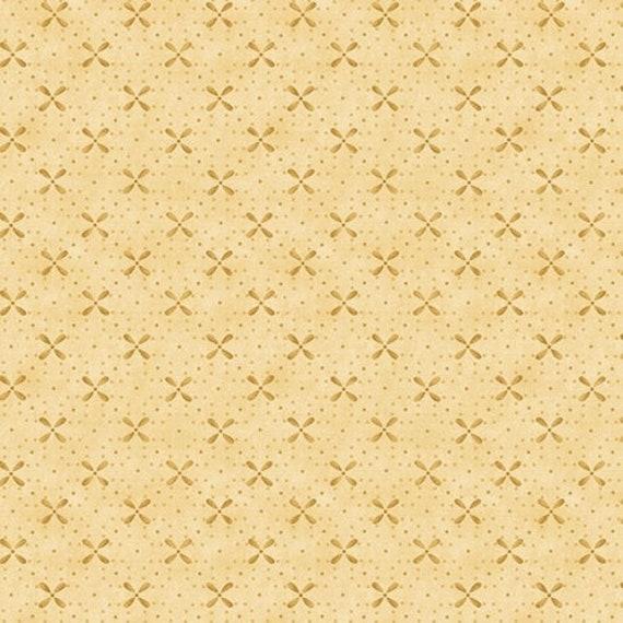 Kim Diehl Butter Churn Basics Beige Needlepoint Cross, Henry Glass Fabrics by the Yard 6560 44