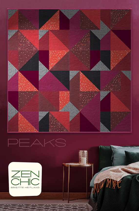 Modern Quilt Pattern, Peaks by Brigitte Heitland of Zen Chic, Beginner Level Quilter, Triangles and Geometric Design