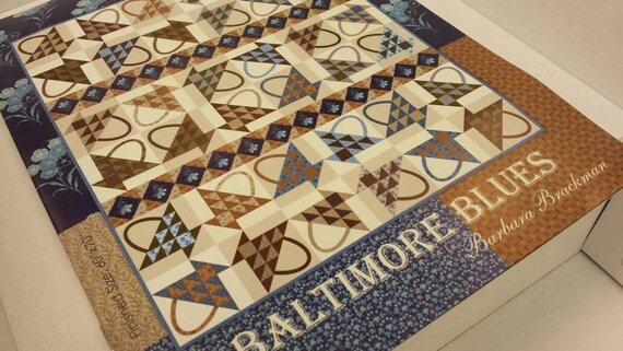 Baltimore Blues Quilt Kit from Moda, Lap Size Classic Reproduction Fabrics Arranged Into Traditional Basket Blocks From Barbara Brackman