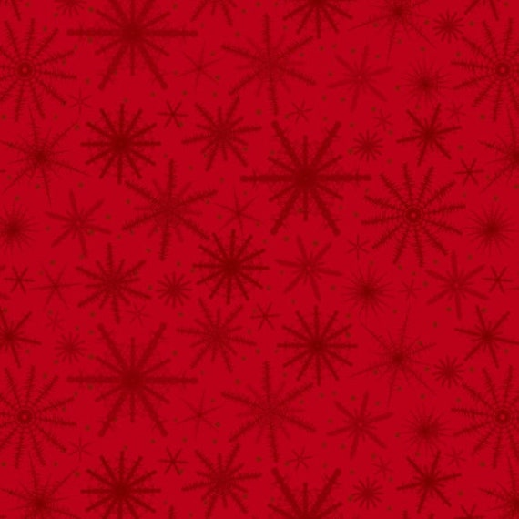 Sparkling Snowflakes In Red On Red Background, Merry Christmas. Quilt Fabric by the Yard 6932 88