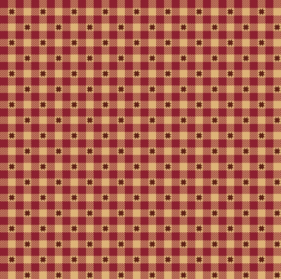 Liberty Star Kim Diehl Quilt Fabric By The Yard - Gingham Stars Red 1576 88