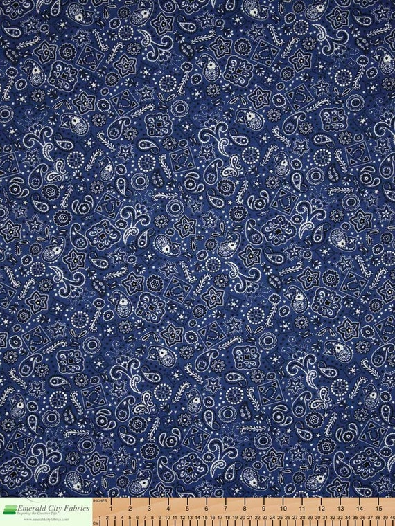 Blue Bandana Cowboy Stars And Paisley Swirls In White On Blue, Quilt Fabric by the Yard, Timeless Tresasures C 1560B