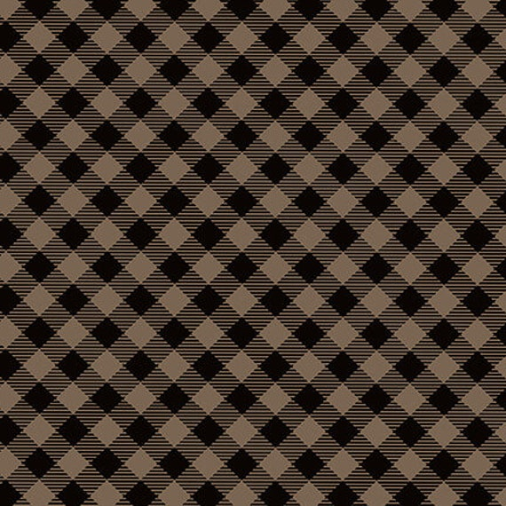 Black and Tan Diagonal Buffalo Check Print, House In The Mountains,  Rustic Cabin Decor, Twilight Lake Quilt Fabric by the Yard 1691 39