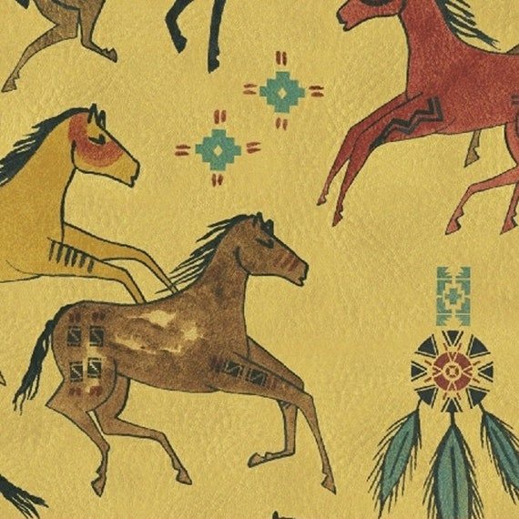 Painted Pony Native American Primitive Horses In Black, Gold, And Orange On Corn Maze Yellow Background, Fabric by the Yard 36553 4