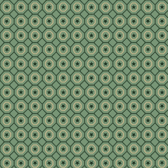Liberty Star Kim Diehl Quilt Fabric By The Yard - Dotted Star Hexies Light Teal Green 1580 11