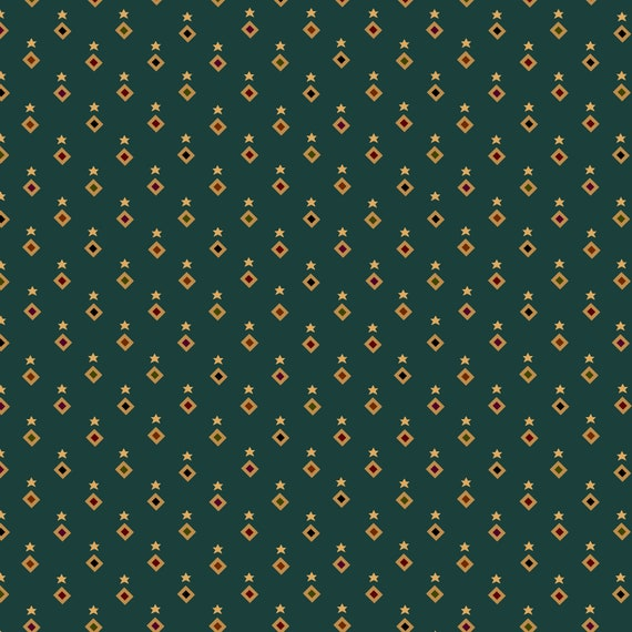 Liberty Star Kim Diehl Quilt Fabric By The Yard - Stars and Diamonds Teal Green 1577 11