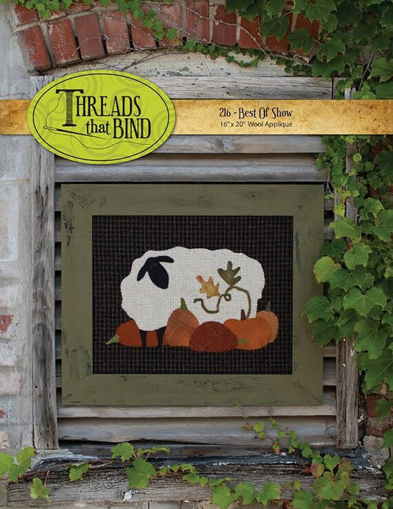 Sheep In The Pumpkin Patch Wool Applique Pattern, Wall Hanging or Framed Art, Fall Decoration, Handmade Project, Easy Folk Art, Rustic Art