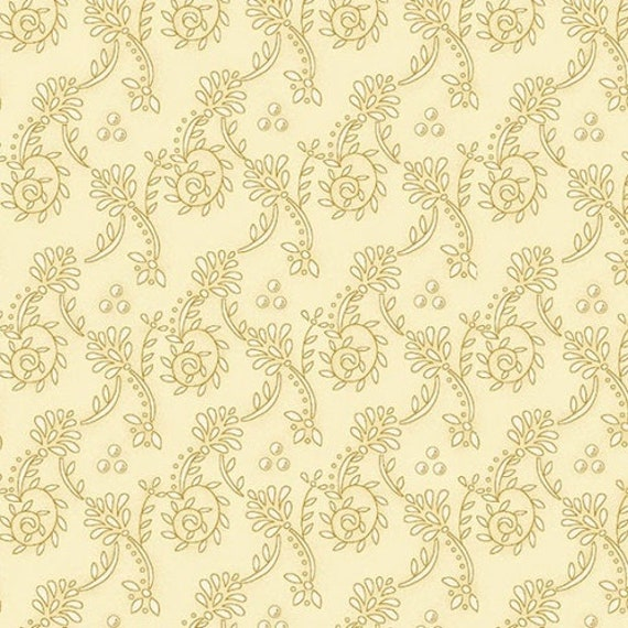 Kim Diehl Butter Churn Basics Creme Beige Spiral Vines, Henry Glass Fabrics by the Yard 6556 44