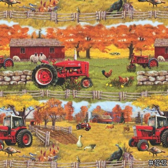 Farmall Tractor Barn Sceen Quilt Fabric,Farmyard Scene With Sheep and Chickens Print Concepts Fabric by the Yard 1212