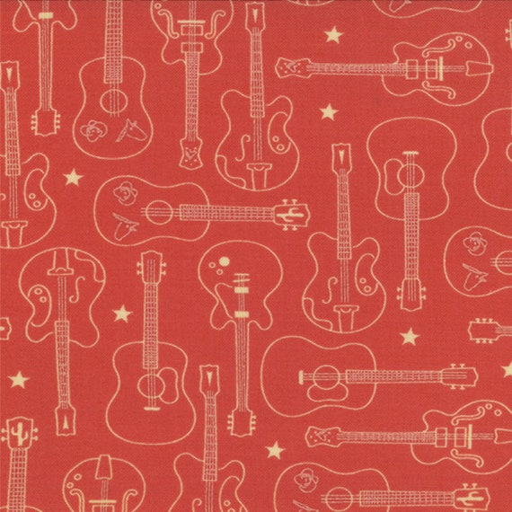 Cream Guitars and Stars on Tomato Red, Western Theme Honky Tonk by Eric and Julie Comstock for Moda Fabrics By The Yard. 37082 12