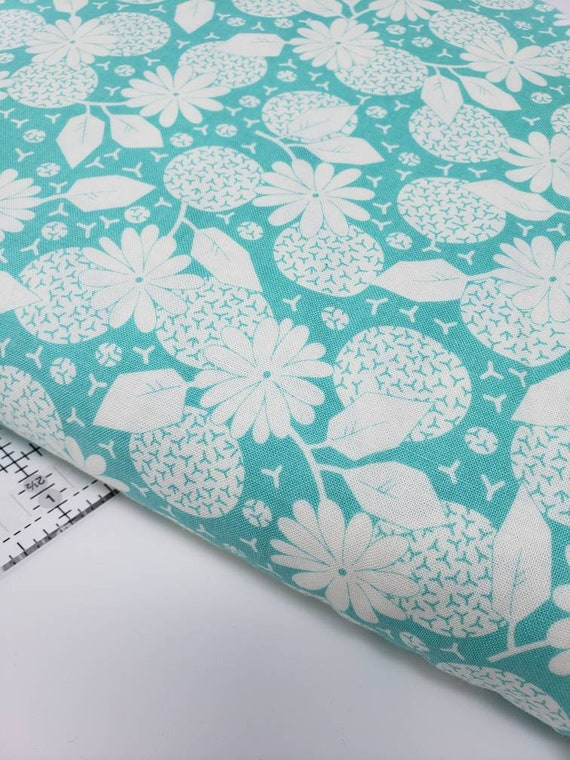 White Dandelions And Circles On Teal Feedsack Reproductions by Sara Morgan, Washington Street Studio Quilt Fabric by the Yard 645t