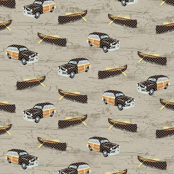 Vintage Panel Wagon and Wood Canoe Novelty Print With Black Check On Moss Green Background, Twilight Lake Quilt Fabric by the Yard 1693 33