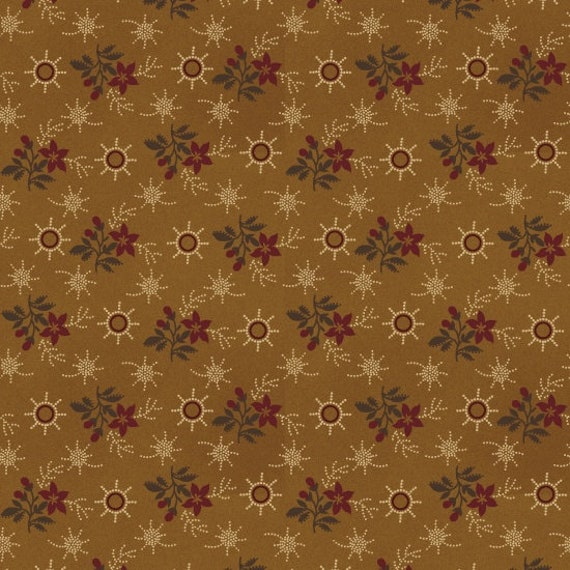 Calico Red Flowers On Gold In Primitive Folk Style, Patriotic Quilt Fabric, Spirit Of America, Stacy West, Buttermilk Basin 8864 37