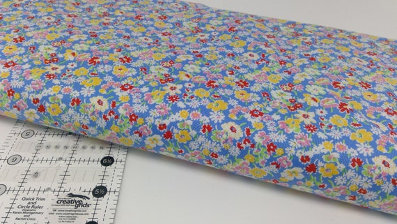 White, Yellow and Red Wildflowers On Blue, Toy Chest Florals From Washington Street Studio's For P&B Textiles, Fabric By The Yard 0411b