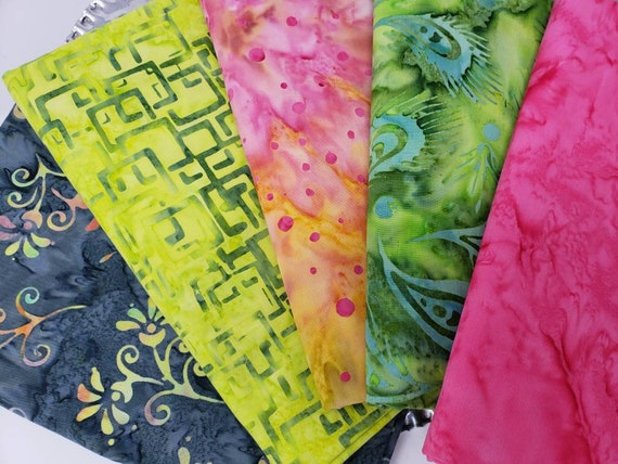Batik Cotton Fabric Of 5 One Yard Cuts In Grey, Lime Green, Red Pink and Yellow Marbled Solid, Dots, and Geometric 1YARDBN231