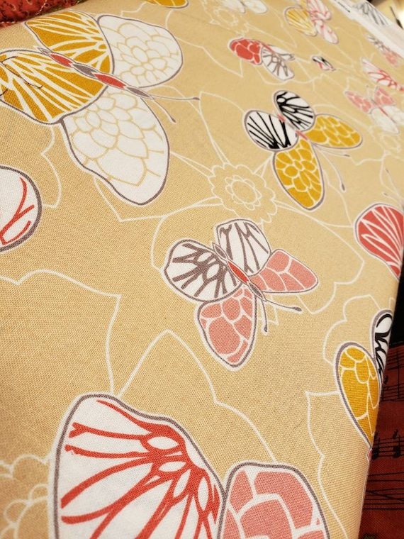 Gold and Coral Butterflies On Creme Beige Background, Maywood Studios Fabrics by the Yard MAS87102 E