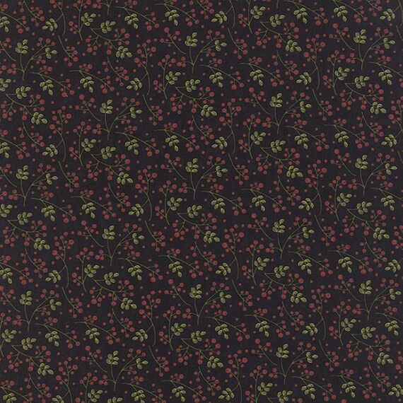 Delightful December Red Berries and Sage Green Leaves On Black Background, Sandy Gervais for Moda Fabric by the Yard 17875 14