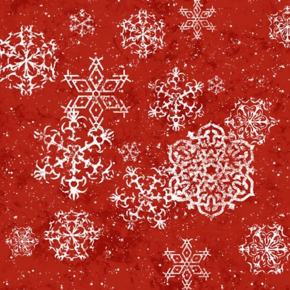 Floating White Snowflakes Scattered On Soft Red Background, Fabric by the Yard, by Barb Tourtillotte, 1311-88
