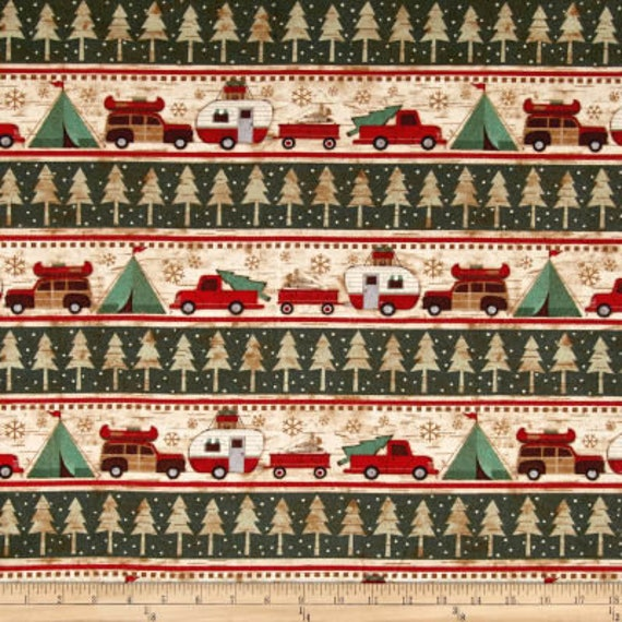Winter Camping Border Print - Holiday Christmas Flannel Fabric, Woodland Retreat by Jan Shade Beach, Fabric by the Yard, F6810 63