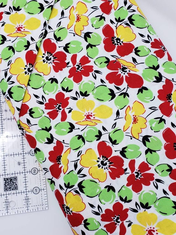 Red, Green, Yellow Flowers Buds On White, Feedsack Reproductions by Sara Morgan, Washington Street Studio Quilt Fabric by the Yard 642YG
