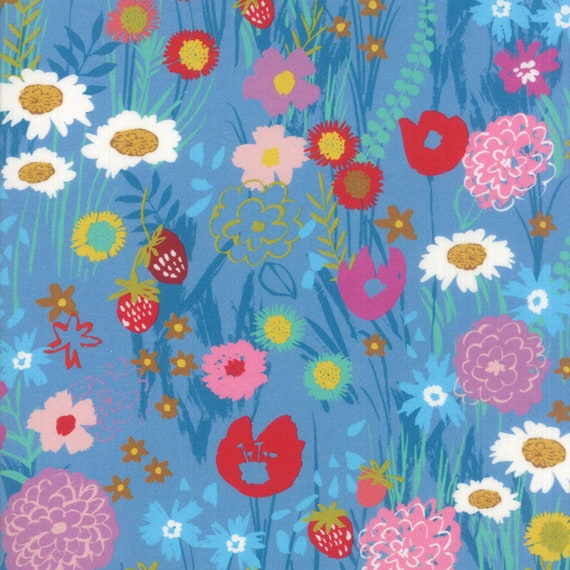 Light Blue With Wildflower Mix, Digital Quilt Prints Crystal Manning by Moda, Fabric by the Yard 11830 12