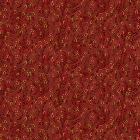 Liberty Star Kim Diehl Quilt Fabric By The Yard - Triangle Star Vines Red 1581 88