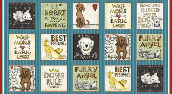"Dog Quilt Fabric Block Print With Puppy Pictures And Best Friend Sayings.  Sold in a 24 Inch Length by 42"" Width Of Fabric, Henry Glass"