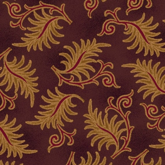 Brown Beige Toothed Leaves on Flourished Branch on Eggplant Farmstead Harvest by Kim Diehl, Cotton Print Quilt Fabric by the Yard 6938 55