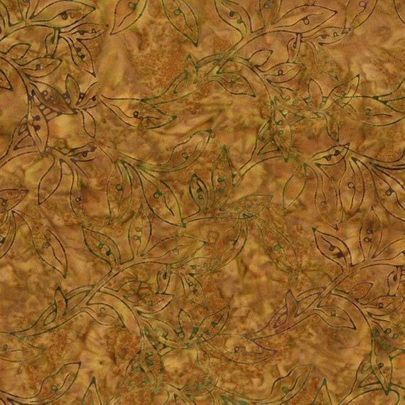 Fire Tan Leaf Vine One Carmel Taupe Malam Batik by Jinny Beyer for RJR Fabrics, Fabric by the Yard 2146 2