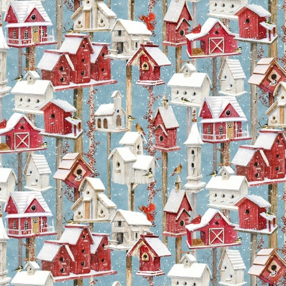Snowy Village Of Red and White Birdhouses, With Red Cardinals On Light Blue Background, Fabric by the Yard, by Barb Tourtillotte, 1301-81