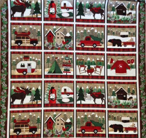Winter Camping Scenes, 12 Blocks In 23 Inches of Christmas Flannel, Woodland Retreat by Jan Shade Beach, Fabric by the Panel F6801P 63
