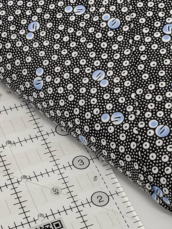 White And Blue Bubbles And Dots On Black, Feedsack Reproductions by Sara Morgan, Washington Street Studio Quilt Fabric by the Yard 649B