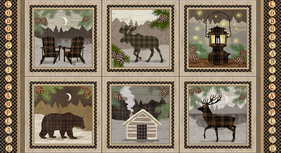 Wildlife Quilt Fabric Panel of 6 Scenes of Elk, Bear, Moose, Chairs, Cabin In The Woods and Lantern, Rustic Lodge Twilight Lake 1689